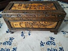 More details for camphor wood chest - vintage two tone, blanket box, coffee table or storage