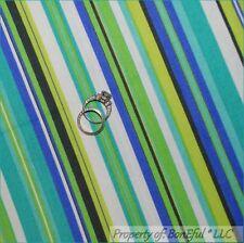 BonEful Fabric FQ Cotton Woven Decor*ator Aqua Blue Lime Green White Stripe Girl