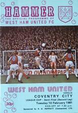 1981 LEAGUE CUP SEMI-FINAL - WEST HAM v COVENTRY CITY