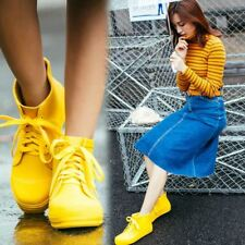 Ladies Lace Up Waterproof Flats Ankle Rain Boots Shoes Rubber Yellow Big Size