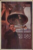 Polish Artist Setkowicz Man Blowing Trumpet Bell Belfry c1910 Postcard