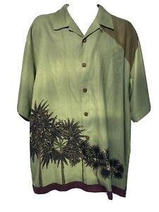 Tommy Bahama Men's Size L 100% Silk Floral Palm Tree Green Hawaiian Aloha Shirt