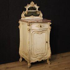 Comodino laccato mobile tavolino legno piano marmo alzata specchio stile antico