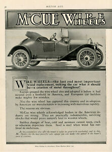 1913 Orig McCUE WIRE WHEELS & Axles 2 Pg Ad.Flashy 2 Seat CONVERTIBLE. Buffalo