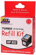 TURBO ink Refill Kit for HP 802 Black Ink Cartridge
