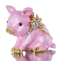 Lovely Piggy Trinket Box Jewelry Holder Figurine Home Decor Collectible Gift New