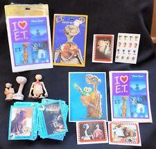 HUGE E.T. Extra Terrestrial Memorabilia Cards Figures Button Stickers