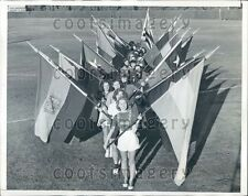 1941 Lovely College Ladies w Flags For Tournament of Roses Parade Press Photo