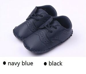 NEW Baby Boy PU LEATHER Formal Shoes 0-18m Size 1/4/5 *Navy Blue*Black