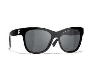 NEW CHANEL Square Sunglasses Acetate Black Lenses Grey Gradient 5380-A