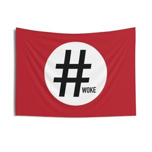 Nazi Hashtag Woke Flag Indoor Wall Tapestries