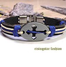 Men Trinity Cross New Age Fashion Surfer Biker Leather  Bracelet Wristband