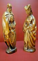 Lot statue Marie de Bourgogne Maximilien Autriche bois chateau Duc Bruges Catles