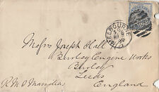 Postmark 1890 Melbourne Victoria duplex on 6d blue on James Hardie cover to UK