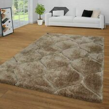 Modern Shaggy Rug Living Room Bedroom Carpet Brown Soft Fluffy Geometric Mats