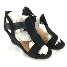 Forever Womens Wedge Sandals T Strap Cutout Detail Faux Leather Black Size 5.5
