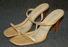 Ralph Lauren Ariel T-Strap Sandal Shoes - High Heels - White/Gold - 8 8B