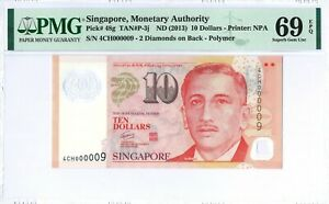 "Singapore 10 Dollars P48g 2013 PMG 69 EPQ s/n 4CH 000009 LOW number ""9"" Polymer"