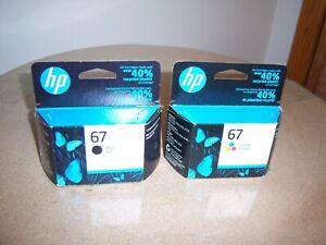 Genuine HP 67 Black/Color Ink Cartridge Combo 2732 4155 6058 6458 - Exp 09/2022
