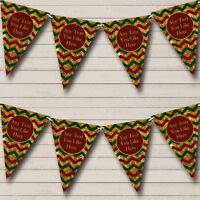 Gold Green & Red Chevrons Personalised Christmas Decoration Bunting Party Banner