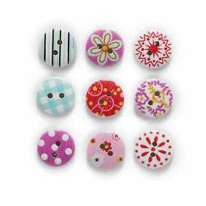 50pcs Printing Wooden Buttons for Scrapbooking Sewing Craft Making Decor 15mm