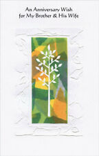 White Tree with Embossed White Border: Brother & Wife Anniversary Card