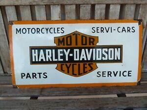 """HARLEY 24"""" porcelain sign collectible vintage logo old garage servi service USA"""