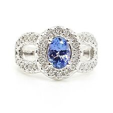 1.30 Carat Tanzanite and Diamond Ring , White Gold