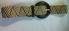 """Black and Tan Faux Leather Stretch Woven Size 3 Belt 1 1/2"""" Width Zig Zag Design"""