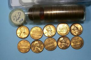 1964-D ORIGINAL CENT ROLL FLASHY COINS WITH RED EDGES #57-4