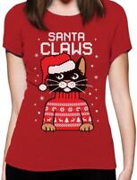 Santa Claws Ugly Christmas Sweater Cat Women T-Shirt Gift
