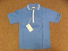 Springfoot Vtg 1950s NEW Cotton Blue Diamond Knit Loop Collar Polo Shirt Boys 7
