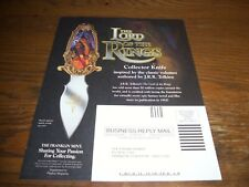 The Franklin Mint LORD OF THE RINGS COLLECTOR KNIFE 2002 Magazine Ad, ORDER FORM