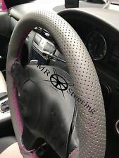 Pour VW Tiguan 07+ gris perforé Volant en cuir couverture rose chaud double St
