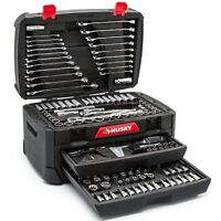 268-Piece Husky Mechanics Tool Set w Case SAE Metric Sockets Wrenches Repair Kit