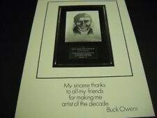 BUCK OWENS Thanks For Making Me Artist Of The Decade 1970 PROMO POSTER AD mint