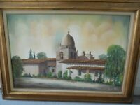 "CARMEL MISSION BY BATSELL MOORE ORIGINAL OIL PAINTING 44,5"" X 32 3/8"""