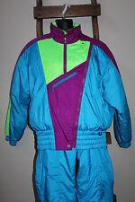 Vintage 80's 90's~FERA Skiwear~TURQUOISE~Ski Suit~JACKET~Snow Bibs~2 Pc~SIZE 10