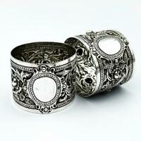 PAIR Heavy VICTORIAN REPOUSSE STERLING SILVER NAPKIN RINGS London 1896 W&W