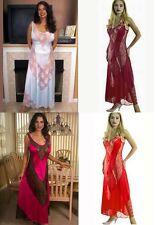 Plus Size Lingerie Sizes 1X 2X 3X Long Gown with Lace V Panels 6742X
