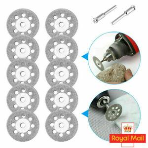 UK 10PCS Mini Diamond Cutting Discs Wheel Blades + Drill Bit For Dremel Rotary