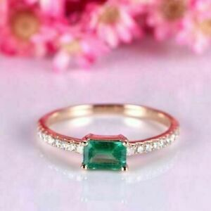 2.24Ct Emerald Cut Green Emerald Solitaire Engagement Ring 14K Rose Gold Finish