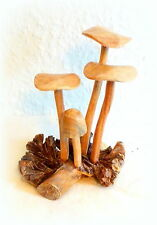 Pilze Holz Pilzgruppe Skulptur Figur Handarbeit Dekoration  14cm x 12cm