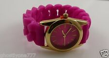 Pink and gold tone watch rubber tire tread type band New trendy