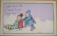 1905 Artist-Signed Postcard: Police Man & Bum, Drunk