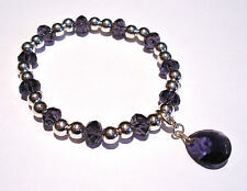 'AAA' GRADE PURPLE CRYSTAL GLASS BEADED STRETCH TEARDROP CLIP CHARM BRACELET