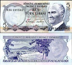 TURKEY 5 LIRA 1970 (1976) P 185 UNC
