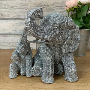 Silver Sparkle Diamante Glitter Sitting Mother Baby Elephants Sculpture Ornament