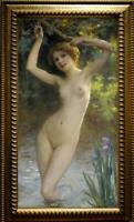 "Old Master-Art Antique Oil Painting Portrait nude girl on canvas 24""x40"""