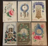 Lot of 6 Antique CLOCKS ~AIRBRUSHED~Embossed  Vintage~NEW YEAR~Postcards-a186
